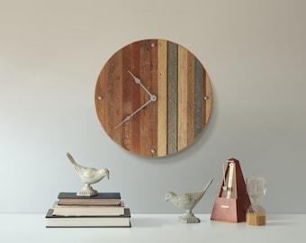 Modern Wood Clock, Reclaimed Wood, Pattern, Decor, Geometric