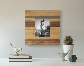 8x10 Unique Wood Frame   Striped   Reclaimed Wood Lath