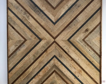 Geometric Wood Wall Art   Modern Pattern Reclaimed Wood