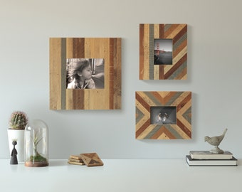 3 Reclaimed Wood Picture Frames, Lath, Pattern, Decor, Geometric