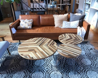 Custom Sized Round Y pattern Reclaimed Wood Lath Coffee Table