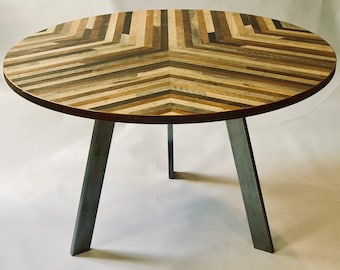 Round Dining Table    Reclaimed Wood Lath