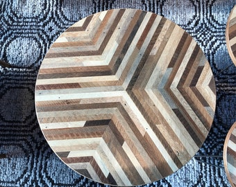 Custom Sized Round Reclaimed Wood Lath Table Top