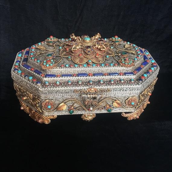 Boîte à Trésor bijoux Royal népalais avec incrustation de   Etsy beebcaa698c4