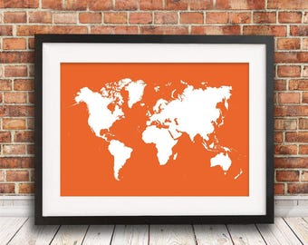 Red world map etsy red world map illustration art print world map print world map poster gumiabroncs Gallery