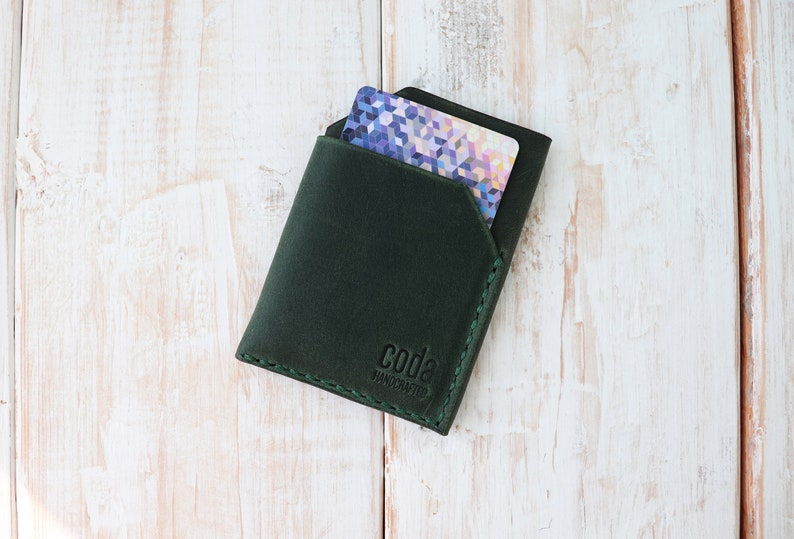 Compact wallet Minimalist leather cardholder Compact cardholder Awesome Gift Wallet Black wallet Green wallet Personalized cardholder