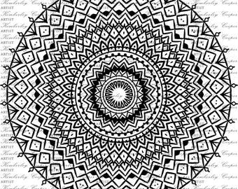Mandala Digi Stamp Circle Art Scrapbook Printable Commercial Use Ok Illustration Decal SVG Cricut Digital Kimberley Cooper