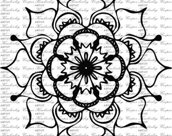 Mandala Digi Stamp Circle Scrapbook Printable Commercial Use Ok Graphic Illustration SVG Cricut Digital Kimberley Cooper