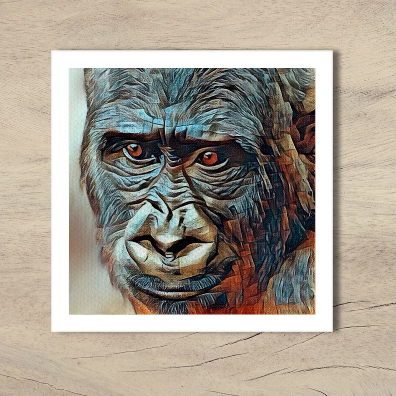 Gorilla card from original pastel and watercolour artwork by Pastel-glossy