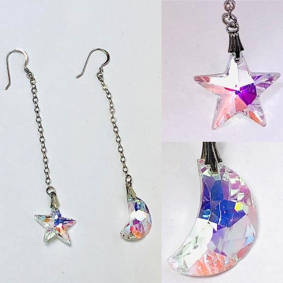 Sterling Silver/Crystal Moon & Star Dangle Drop Ea