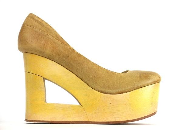 TenOverSix Suede & Wood Cutout Platform Shoes/Heel