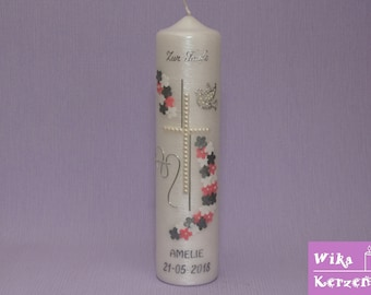 Baptism Candle Girl Flowers 7 Mother of Pearl Pink / Silver