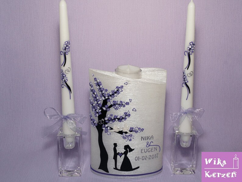 Wedding Candle oval mother of Pearl 6 bridal couple, tree
