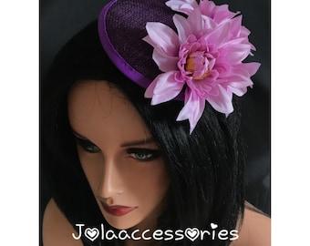 932c36dfe8994 Purple lilac hat fascinator hair clip races 40s flower fascinator hat  wedding hair accessories church hat wedding fascinator