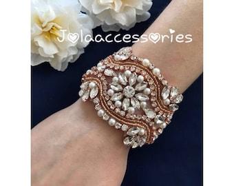Rose Gold bridal bracelet art deco great gatsby 1920s style wedding bracelet rose gold bridal jewelry rose gold wedding accessories bridal