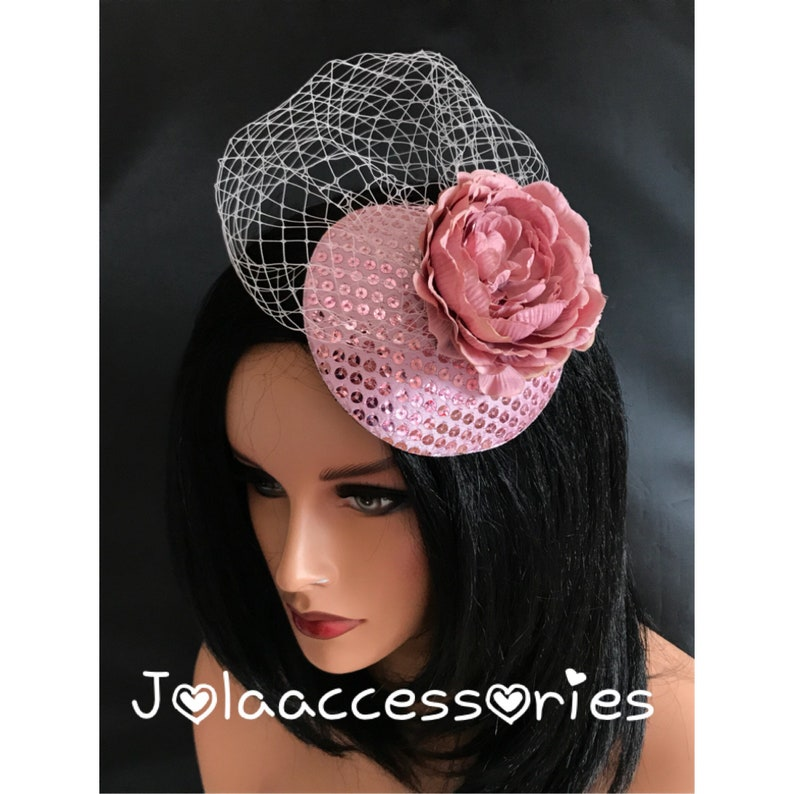 4c0d96763758f Blush light pink taupe flower hat fascinator hair clip races