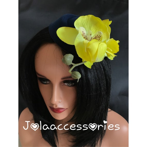 Navy blue bright yellow hat fascinator hair clip races 40s  15a18b711a7