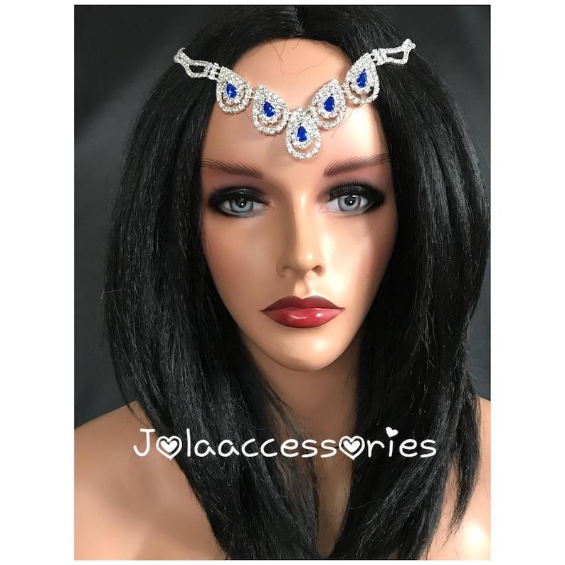 Something blue wedding hair jewellery jewelry hair chain  bridal headpiece  wedding hair headband bridal hair accessory blue stone headband