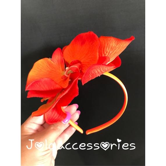 Orange flower wedding fascinator wedding headband hair piece orchid races  church fascinator bridal headpiece wedding hat cc10845dd5c