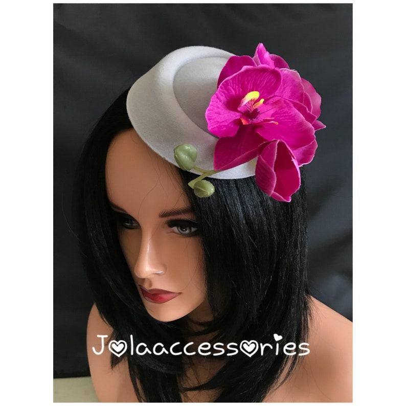 Grey Hot Pink Flower Hat Fascinator Hair Clip Races 40s Flower Etsy