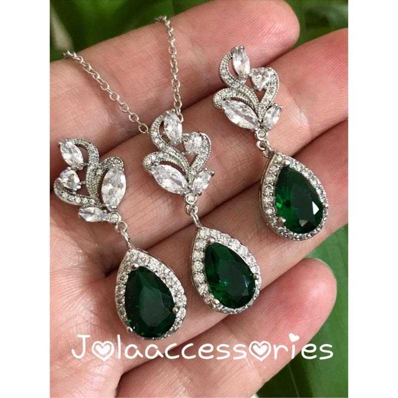 89fbad2a47c90 Green emerald bridal earrings necklace jewelry set wedding bridal earrings  teardrop bridesmaid Art Deco gatsby wedding zirconia bride