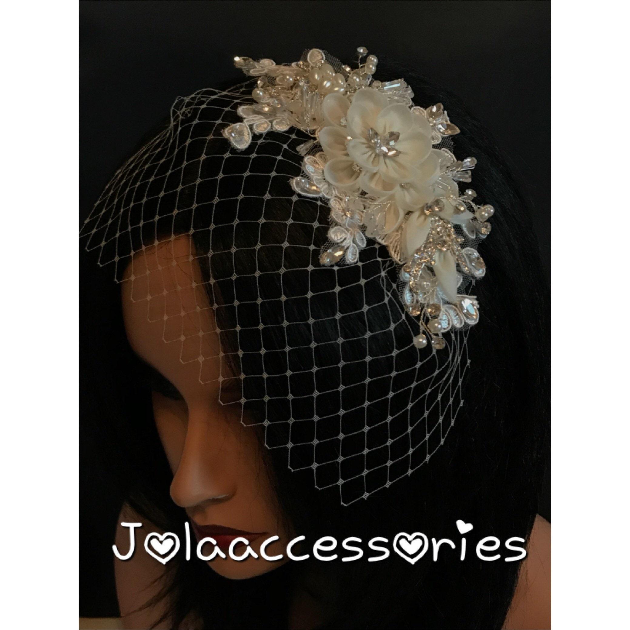 Pearl bridal veil Russian netting Birdcage Headband Veil Wedding Headpiece Vintage Style Art Deco Bridal Veil Pearl Birdcage Wedding Veil