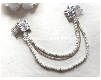 Art Deco bridal wedding pearl crystal hair drape vintage sthle hair chain wedding bridesmaid grecian leaves bohemian bridal hairpiece hair