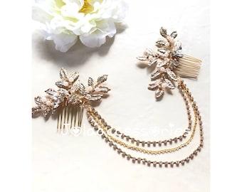 Art Deco gold  bridal wedding pearl crystal hair drape vintage sthle hair chain wedding bridesmaid grecian leaves bohemian bridal hairpiece