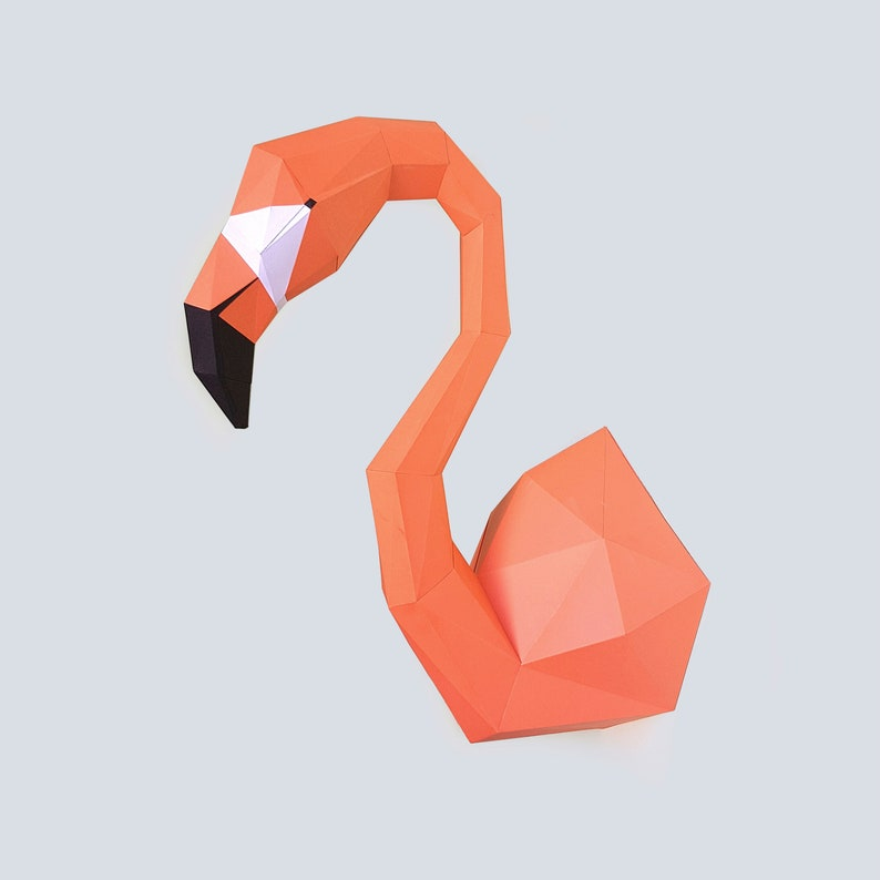 picture regarding Printable Flamingo Template titled Flamingo trophy. Very low poly paper sculpture printable Do-it-yourself pdf papercraft template