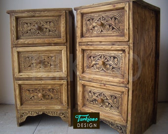 12acf049efbd8 Pair of Bedside Table Cabinet with 3 Drawers Nightstand Hand Carved Antique  Orient Style Solid Wood Handcrafted Wooden