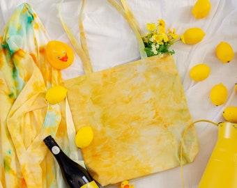 Golden Yellow Hand Dyed Tote - Choose your boho print - Must Have Tote Bag
