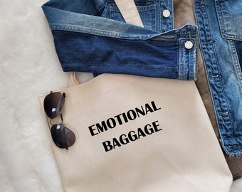 Unique Canvas Tote with Quote and Fringe-Emotional Baggage  Shoulder bag, Market tote, Reusable shopping bag, Women's bag, Gift for her