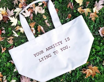 Oversized Beige Anxiety is Lying Tote- Collab with Nacu Studios