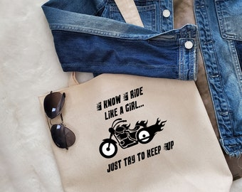 Unique Canvas Tote with Quote and Fringe-Biker Girl  Shoulder bag, Market tote, Reusable shopping bag, Women's bag, Gift for her