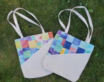 Unique Patchwork Canvas Tote-  Shoulder bag, Market tote, Reusable shopping bag, Women's bag, Gift for her