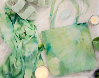 Green Hand Dyed Tote - Choose your boho print - Must Have Tote Bag