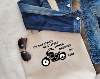Unique Canvas Tote with Quote and Fringe-Biker power  Shoulder bag, Market tote, Reusable shopping bag, Women's bag, Gift for her