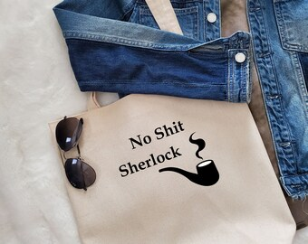 Unique Canvas Tote with Quote and Fringe-Sherlock  Shoulder bag, Market tote, Reusable shopping bag, Women's bag, Gift for her