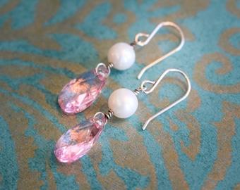 Pink swarovski and pearl earrings