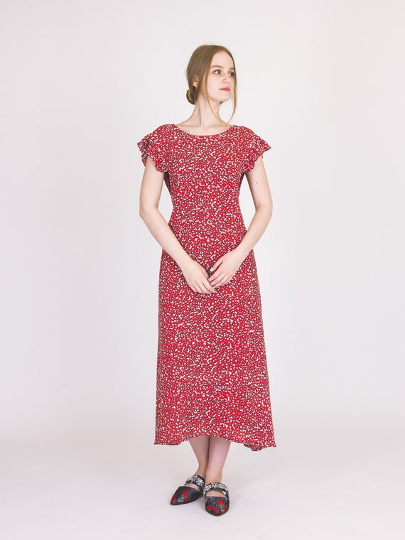 df5bcfd338 Womens red viscose sleeves dress with ruffles and little white