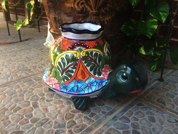 Superb Pottery Talavera Ceramic Turtle Home Kitchen Patio Garden Pottery Mexcian Decor Machost Co Dining Chair Design Ideas Machostcouk
