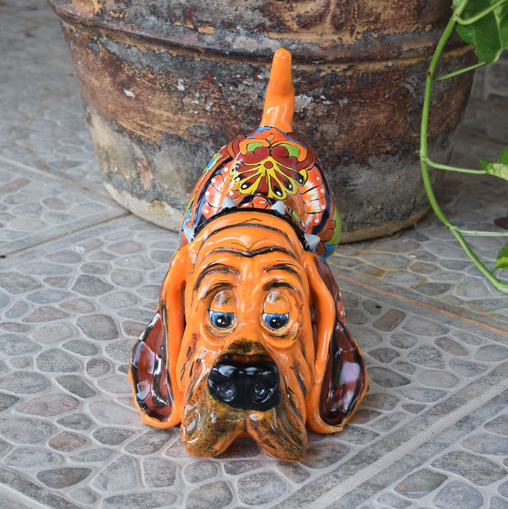 Talavera Ceramic Hound Dog Animal Home Kitchen Patio