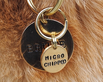 Microchipped Hand Stamped Dog Collar Charm - Dog Tag - Cat Collar Charm - Gift for Dog Lover - Gift for Cat Lover - Chipped Dog - Cat Tag