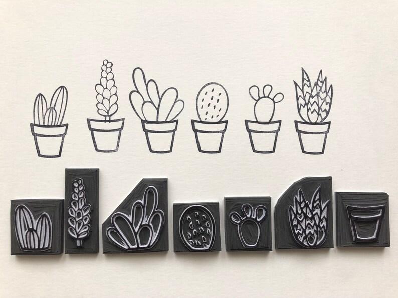 Cactus Cacti Stamp Rubber Set Of 6