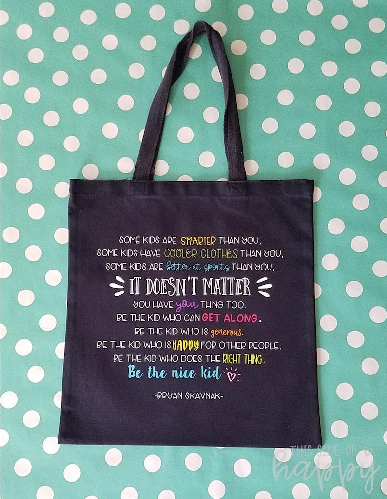 Substitute Teacher gift. Back to School Gifts Teacher Appreciation Gift Teacher Tote Be the Nice Kid Teacher Gift