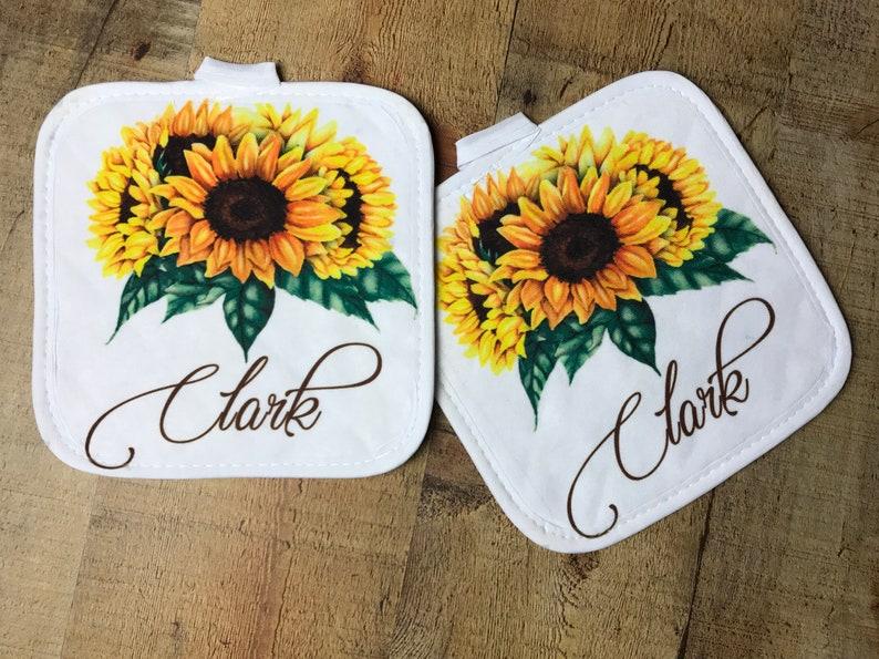 sunflower decor personalized hot mat sunflower hot pad personalized kitchen kitchen decor flower decor Sunflower pot holder
