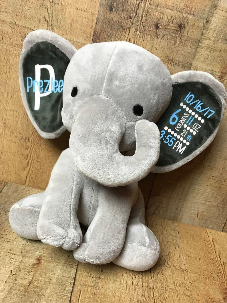 Personalized Elephant Baby Elephant Birth Elephant Birth Statistics Elephant Birth Announcement Elephant Keepsake Elephant