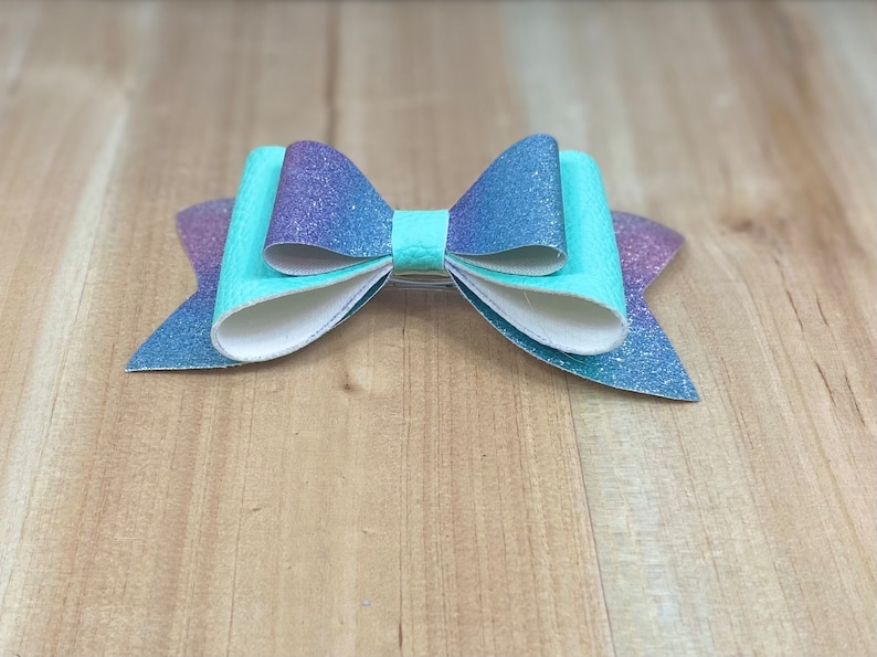 large layered bow Toddler Bow Handmade Bow Hair Bow For Girls Faux Leather Hair Bow