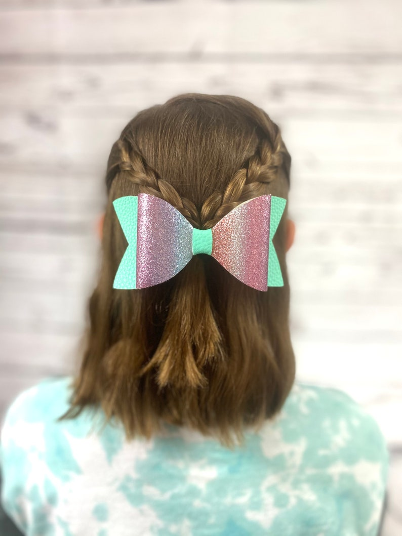 Handmade Bow bow for Toddlers Faux Leather Hair Bow Large Hair Bow For Girls