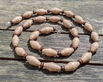 Handmade necklace with beige recycled paper and dark brown wooden beads